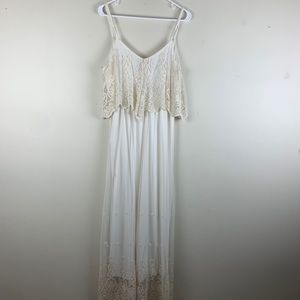 Lulus Stand in Awe Cream and Ivory Lace Maxi Dress